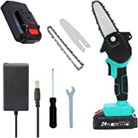 Mini Chainsaw 4-Inch Cordless Power Chain Saws, Portable 24V Electric Chainsaw, Pruning Shears Chainsaw for Courtyard…