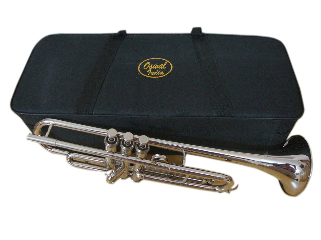 OSWAL Bb Flat Silver Trumpet With Free Har Case+Mouthpiece