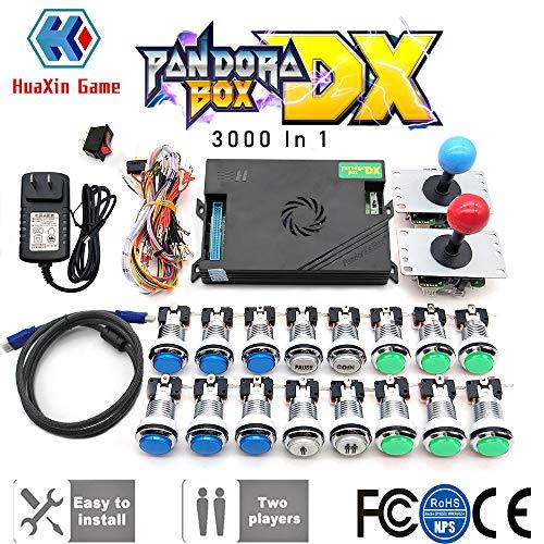 2 플레이어 원래의 판도라자 DX3000 장비 산와 조이스틱 크롬 LED 푸시 버튼 DIY 아케이드 기계 가정 내각