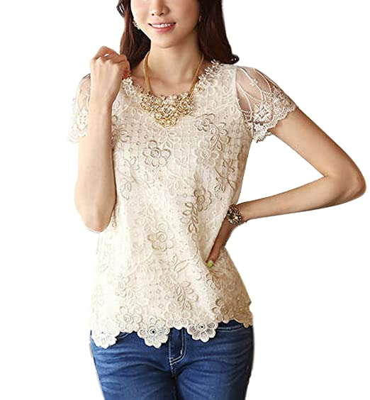 Amazon.com  Urparcel Womens Lace Tank Tops Floral Sleeveless T-Shirt ...