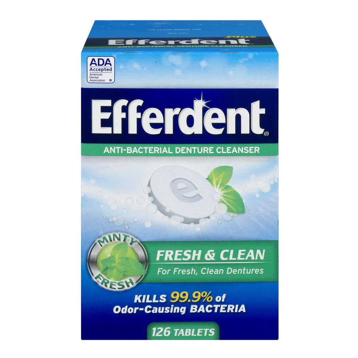 Efferdent Denture Cleanser Tablets, Fresh & Clean, 126 Tablets