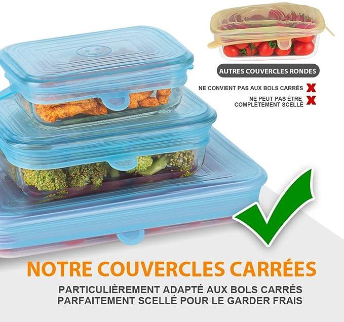 N//D Mokinga Couvercle Extensible Carr/é Couvercle Extensible Couvercle De Conservation des Aliments en Silicone 6 Pcs Couvercle Extensible Peut /Être Plac/é en Toute S/écurit/é dans Le Lave-Vaisselle