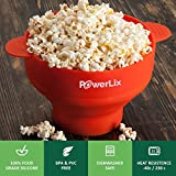 PowerLix Microwave Popcorn Maker, Collapsible Silicone Bowl, Hot Air Popcorn Popper, Healthy Machine No Oil Needed, BPA PVC Free With Lid AND Convenient Handles, Measuring cup Include (Red)