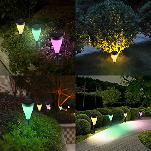 amazoncom icicle color changing solar garden lights 6 pack waterproof outdoor landscape light with 7 color and 3 modes setting perfect decoration