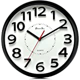 DreamSky 13 Inch Large Wall Clock, Non-Ticking Silent Quartz Decorative Clocks, Battery Operated, Round Retro Indoor Kitchen Bedroom Living Room Wall Clocks, Big 3D Number Display.