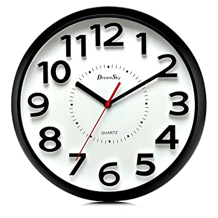 Amazon.com: DreamSky 13 Inch Large Wall Clock, Non-Ticking Silent ...