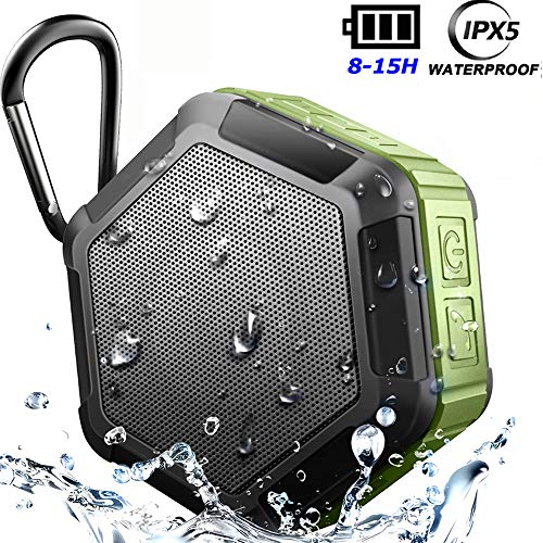 Mini Wireless Outdoor Bluetooth Speakers,Waterproof 5W Enhanced Bass,15Hour Play 1500mA Rechargeable,True Stereo TWS 2 Speakers Pair, Support TF Card,for iPhone iPad Android,for Shower(Suction Cup)