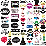 Funny Birthday Photo Booth Props - 47 Pieces - 21st - 30th - 40th - 50th - 60th - 70th - 80th - 90th – Birthday Party Supplies, Decorations and Favors