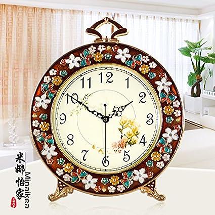 Unión Relojes Antiguos Tranquilo Salón Decoración Relojes Moda Dormitorio Jardín Grande Reloj De Sobremesa, Marrón