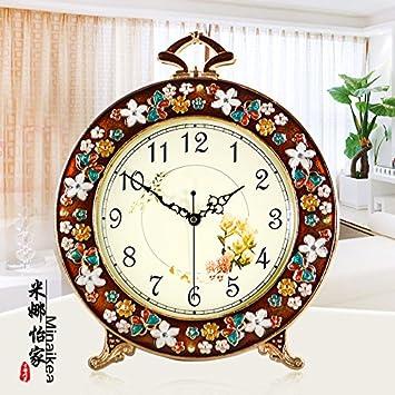 Unión Relojes Antiguos Tranquilo Salón Decoración Relojes Moda Dormitorio Jardín Grande Reloj De Sobremesa, Marrón: Amazon.es: Hogar