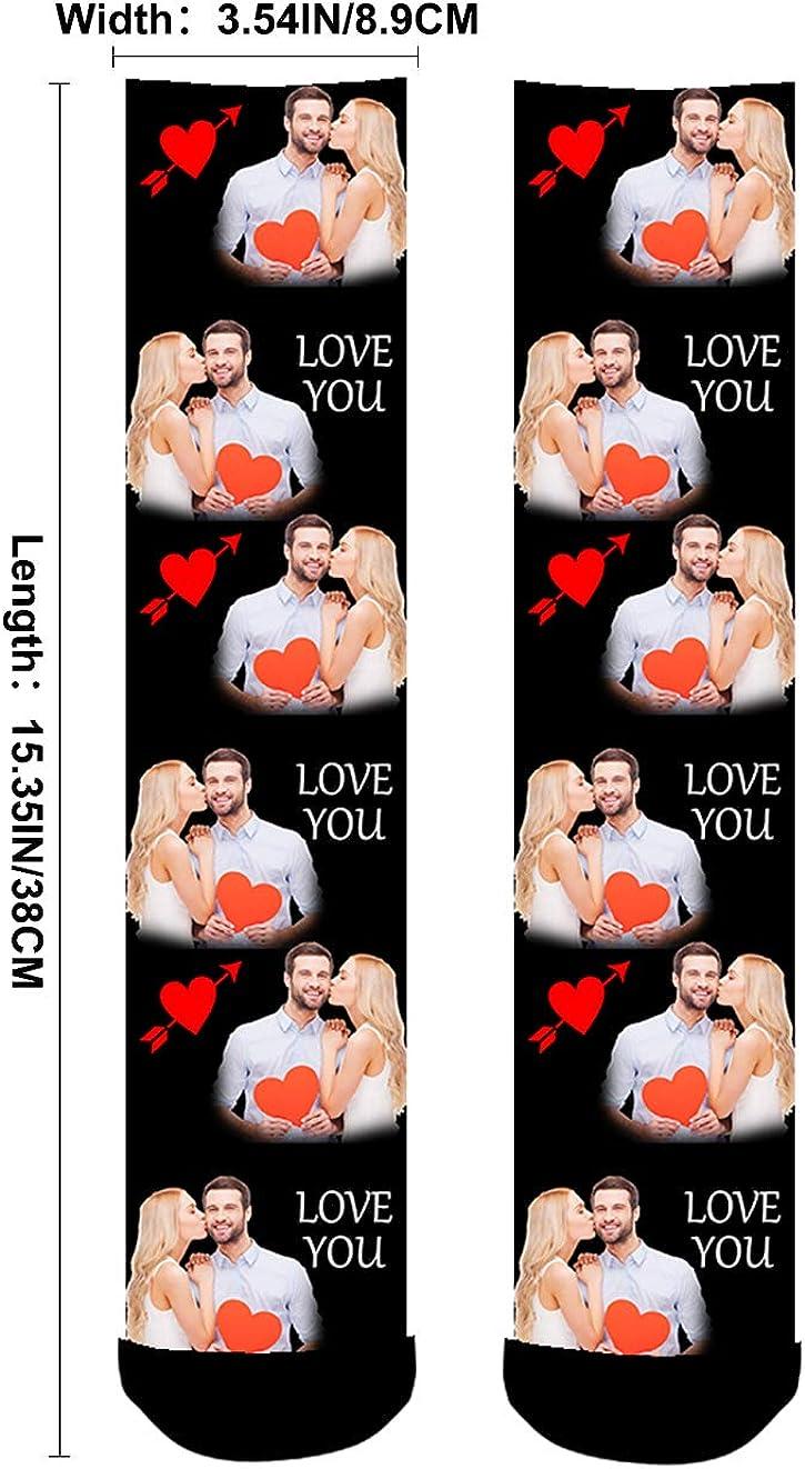 Aolun Calzini Personalizzati Con Foto,Calzini Personalizzabili,Love You,Cuore regali per gli amanti per uomini e donne