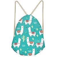 HUGS IDEA Llama Gym Drawstring Bag Sport Sack Pack Lightweight String Bag Shoulder Backpac