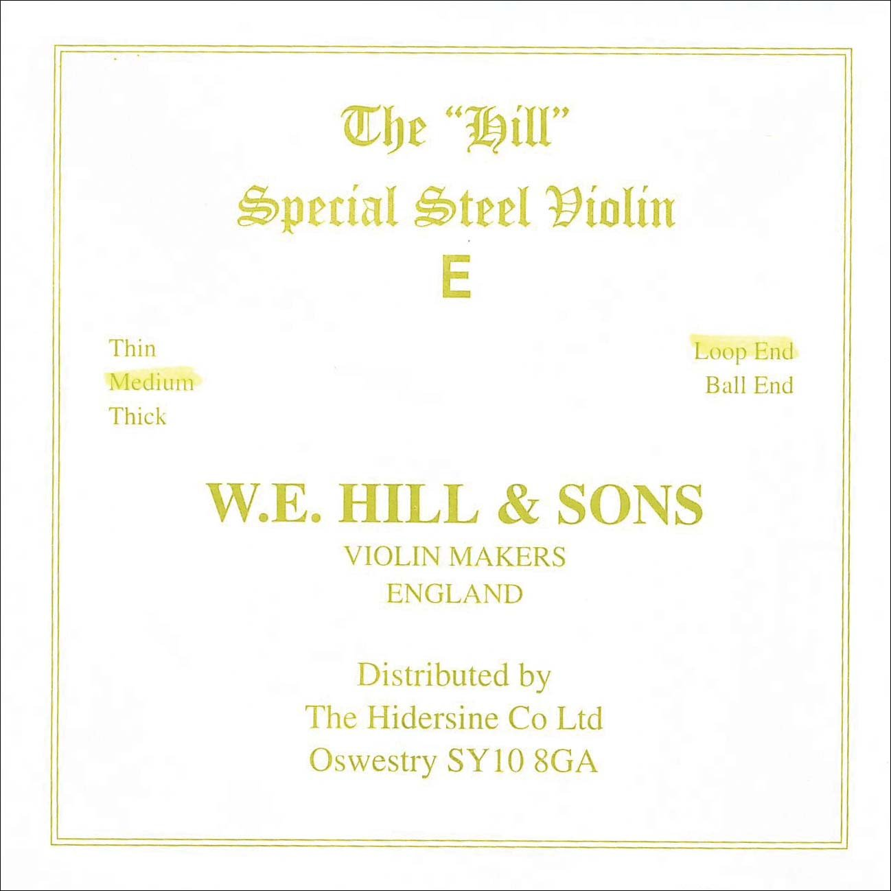 Medium Gauge Hill 4//4 Violin E String Steel Loop-End