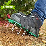 Ohuhu Lawn Aerator Shoes, 2018 Upgraded Heavy Duty Spike Aerating Lawn Soil Sandals with 4 Adjustable Buckles Straps & 1 Heel Elastic Band, Gardening Tool for Loosening Soil