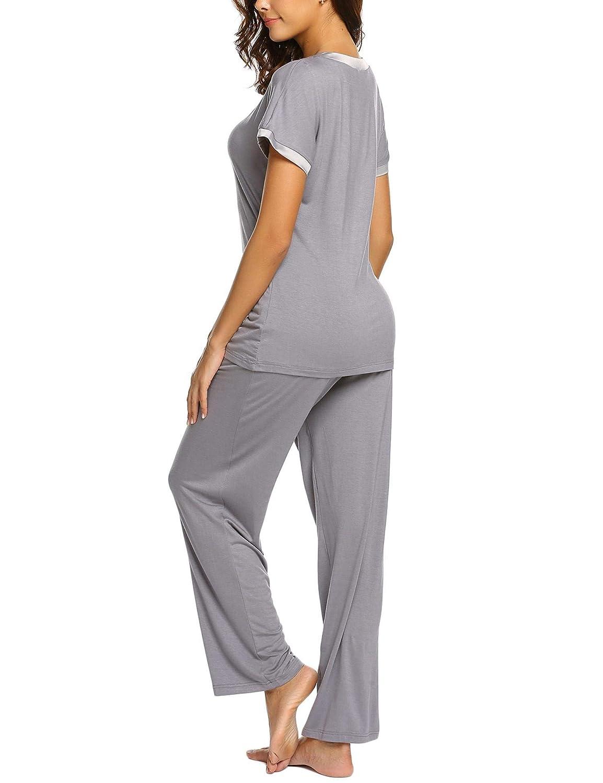 MAXMODA Mujer Pijama De Dos Piezas Pijamas De Primavera Mujeres Cuello En V Ropa De Dormir 2 Piezas De Manga Corta Pantalones Largos Seda S-XL