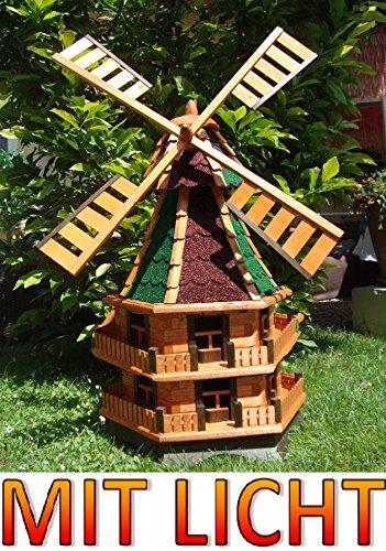 Große XXL Windmühle ,Windmühle für Garten, windmühlen garten, WMB140ro+gr-EMS rot grün Bitumen Mühlen Mühle Holz Licht Solarbeleuchtung