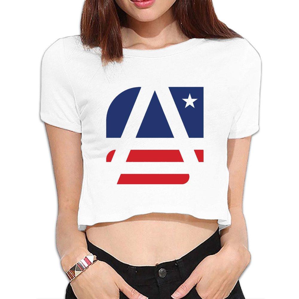 da1fdb491bba03 Amazon.com  GqutiyulU American Flag With Thin Blue Line Vector Women s Basic  Flowy Crop Top T-Shirt White  Clothing