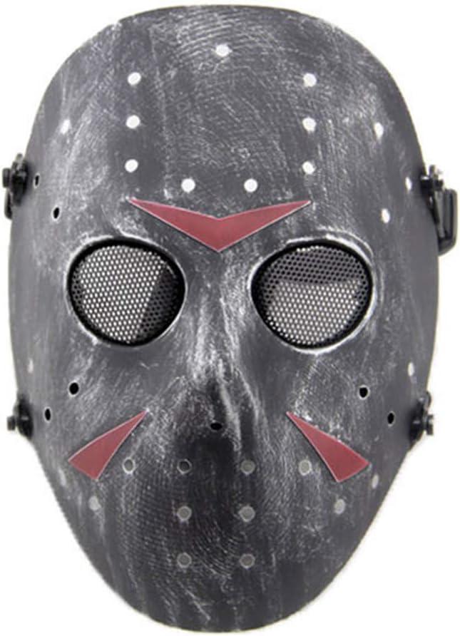 SGOYH CS Games Airsoft Paintball Máscara Protectora de Malla metálica Jason Mascarilla de protección de Cara Completa para Fiesta de Disfraces de Halloween
