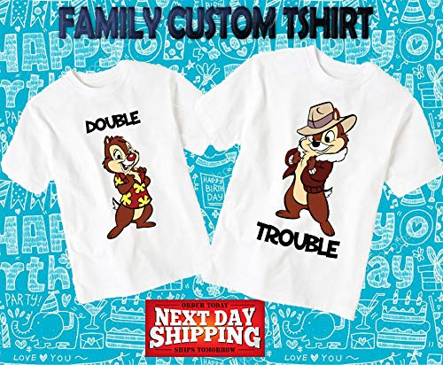 Double Trouble, Chip, Dale, couples gift, couples t-shirts, best friends t-shirts, his and hers, hers and hers, couples, d32 (Disneyland Chip)