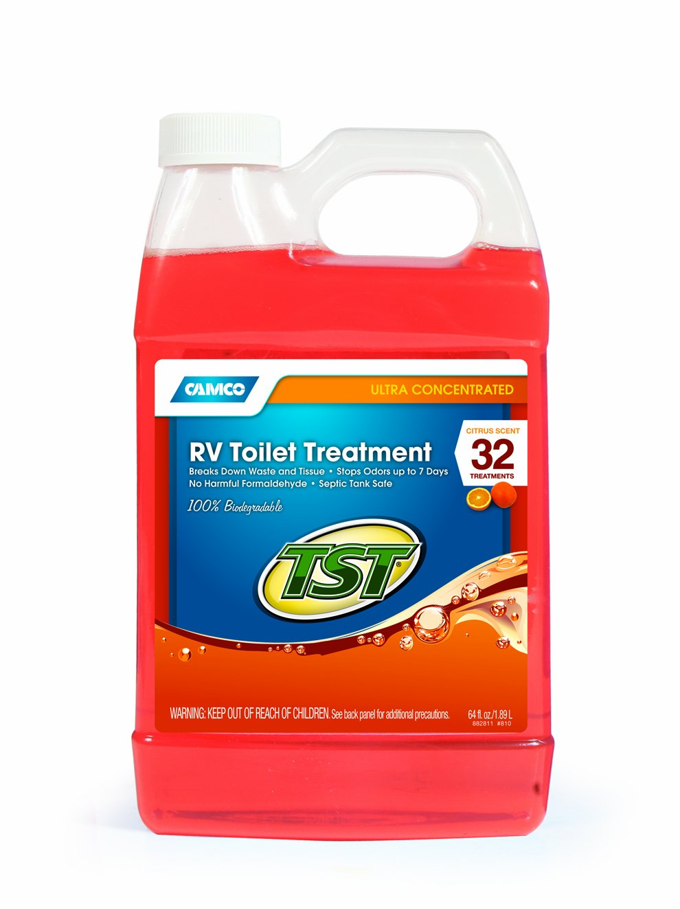 Camco TST Fresh Scent RV Toilet Treatment, Formaldehyde Free, Breaks Down Waste And Tissue, Septic Tank Safe, Treats up to 8 - 40 Gallon Holding Tanks (32 Ounce Bottle) 40226