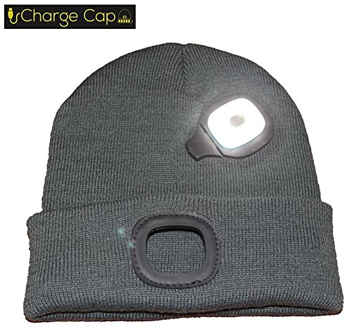 CHARGE CAP USB LED headlamp BEANIE - Activewear LED headlamp. Remove + Recharge bright LED lights, NO BATTERIES TO REPLACE, LED Beanie hat