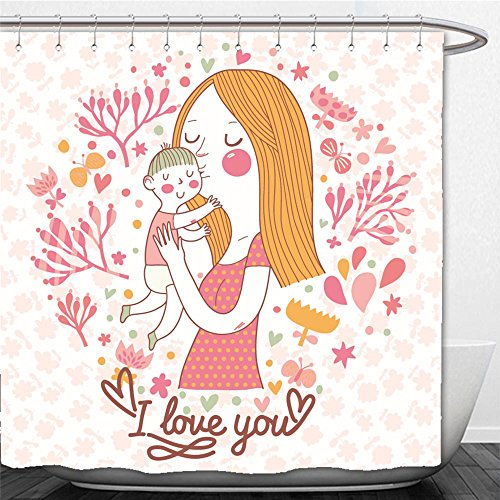 Beshowere Shower Curtain cute vector card with mother and child in flowers and butterflies mothers day postcard - Dc In Macy