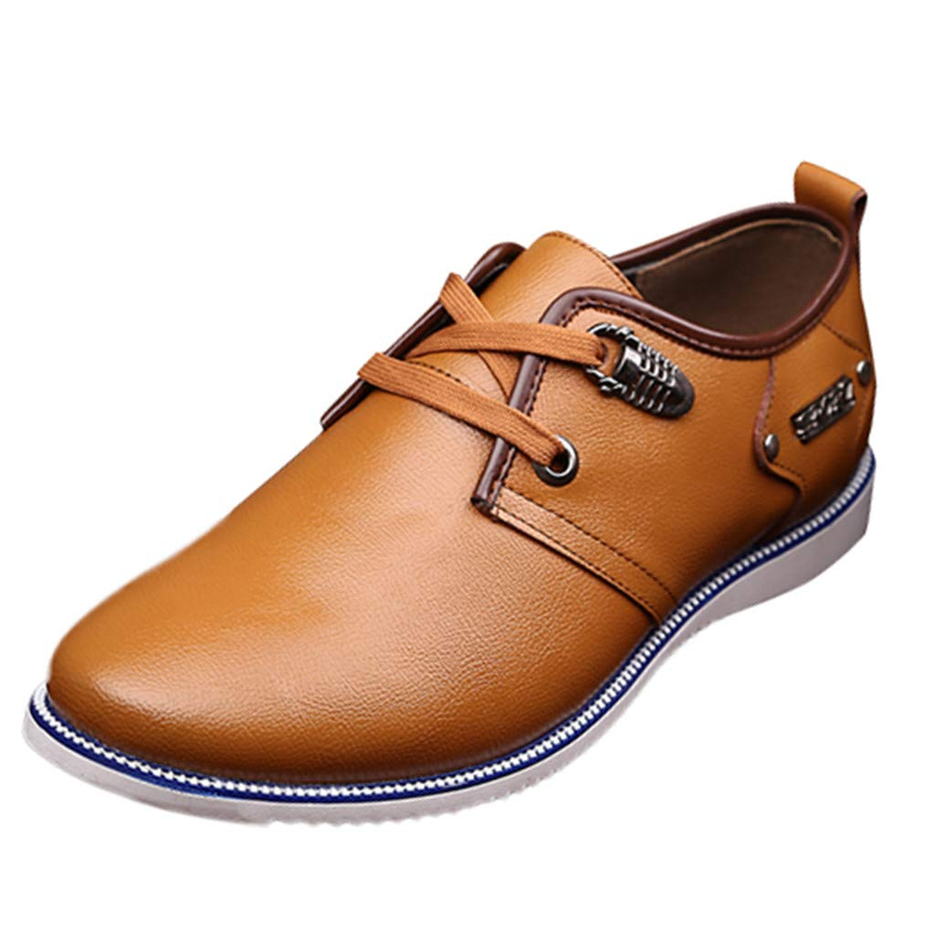 Men's Oxford Sneaker Dress Shoes-Men Business Men's Casual Breathable Leather Shoes Round Head Lace-Up Wild Leather Shoes