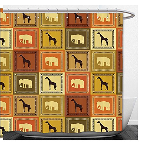 Christmas Backgrounds Jpg - Beshowere Shower Curtain Decor Set African Ethnic Medallion Pattern Background With Monkey Giraffe Elephant Lion Rhino Bathroom Accessorie Longmustard Brown.jpg