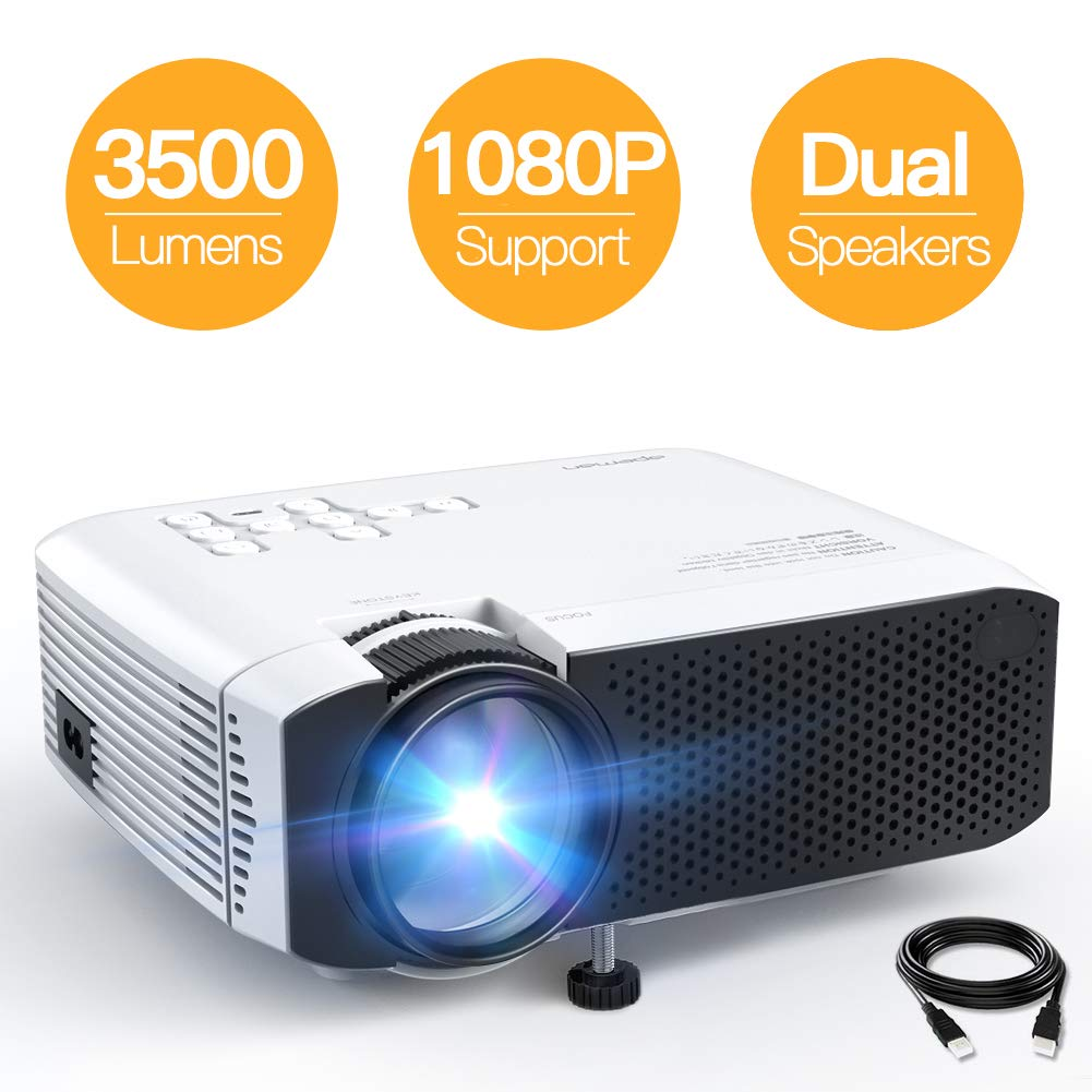 Projector, APEMAN Mini Portable 3500L Video Projector LED with Dual Speakers 45000 Hours Support HD 1080P HDMI/VGA/TF/AV/USB, Laptop/TV Box/Phone/PS4 for Home Theater Entertainment [No Noise Version] by APEMAN