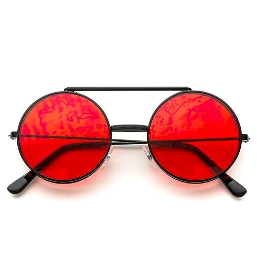 e1d2c199d1 Amazon.com  WearMe Pro - Retro Mirrored Metal Flip Up Round Circle Frame  Sunglasses (Black Frame Tinted Red Lens