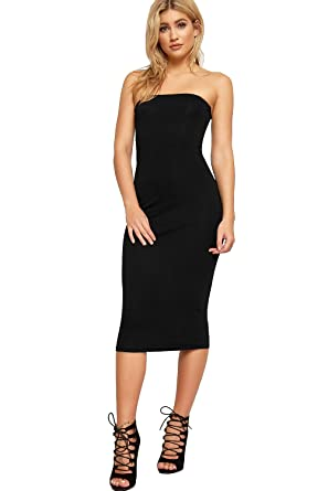 06186570f28 WearAll Women s Plain Boob Tube Strapless Stretch Bodycon Long Midi Dress 8  - Black - 8