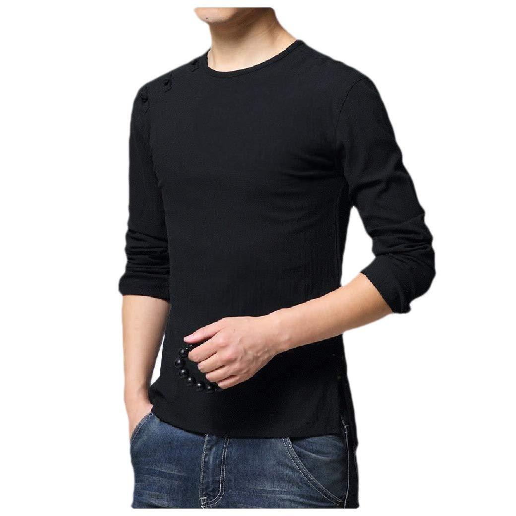 HEFASDM Mens Chinese Tunic Suit Silm Fit Long-Sleeve Spring//Fall Retro T-Shirt