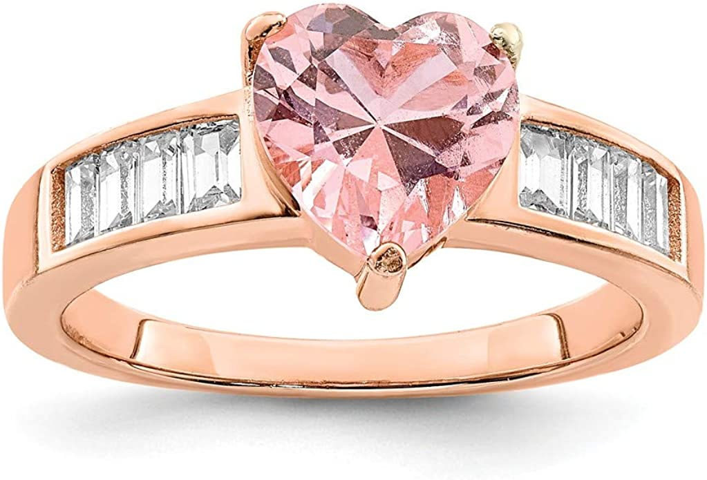 Womens Sterling Silver Ring Pink Crystal Heart Rings Engagement Wedding Jewelry