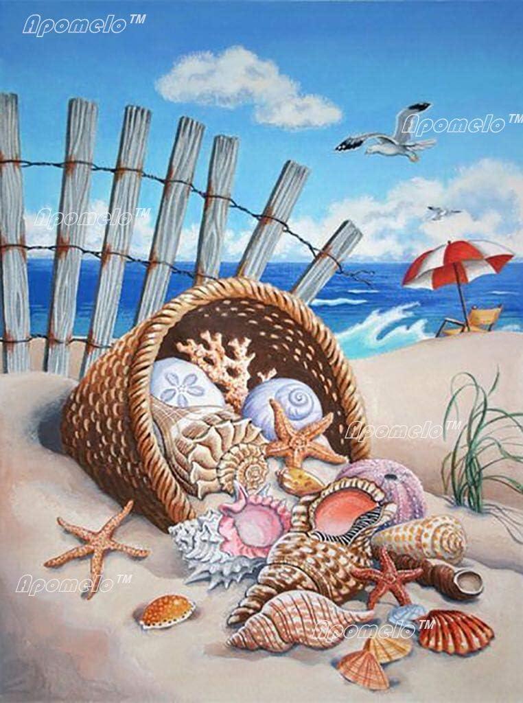 Amazon Com Apomelo 12 16 Inches Diamond Painting Kits Beach Painting With Diamonds Dot Beach Art Kit For Adults Summer Beach Conchs