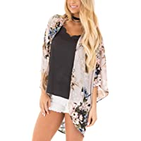 70e87cfb5 Barlver Womens Floral Kimono Cardigan Shawl Half Sleeve Chiffon Loose Bikini  Beachwear Cover up