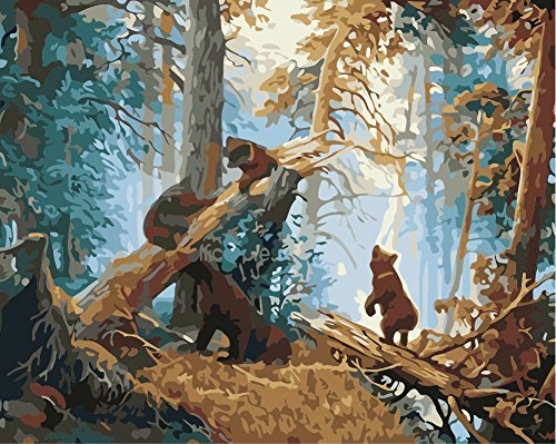 TianMai New Paint by Number Kits - Forest Dead Trees Bear 16x20 inch Linen Canvas Paintworks - Digital Oil Painting Canvas Kits for Adults Children Kids Decorations Gifts (No Frame)