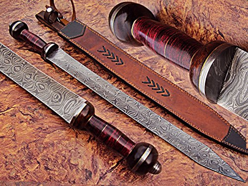 - Sw-339, Handmade Damascus Steel 25 Inches Sword - Beautiful Doller Sheet & Rose Wood Handle with Damascus Steel Guard