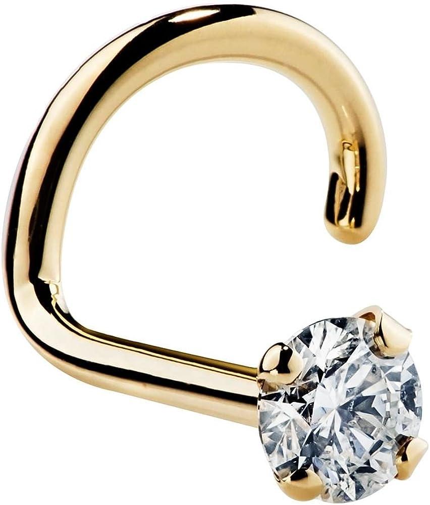 FreshTrends 20G Diamond 14K Yellow Gold Nose Ring Screw Twist SI1