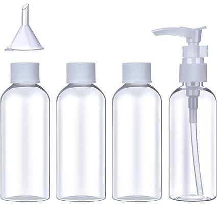 Set de Botella de Viaje de Plástico (100 ml) Contenedor de Avión Transparente de Líquido Cosmético Artículos de Aseo Embudo Pequeño con Bolsa ...