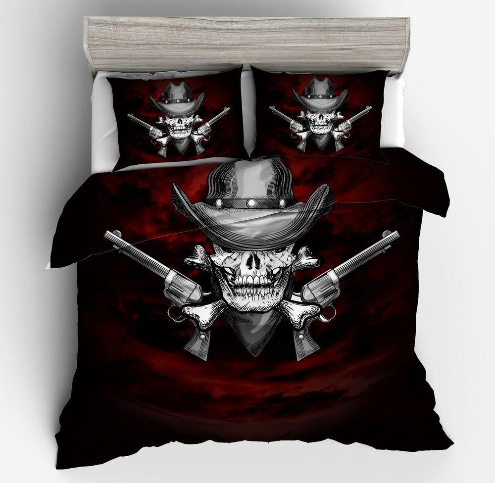 SxinHome 3D Bedding Set Skull Western Cowboys Revolvers Duvet Cover Set for Teens Boys Girls,Queen,3pcs 1 Duvet Cover 2 Pillowcases(no Comforter inside)