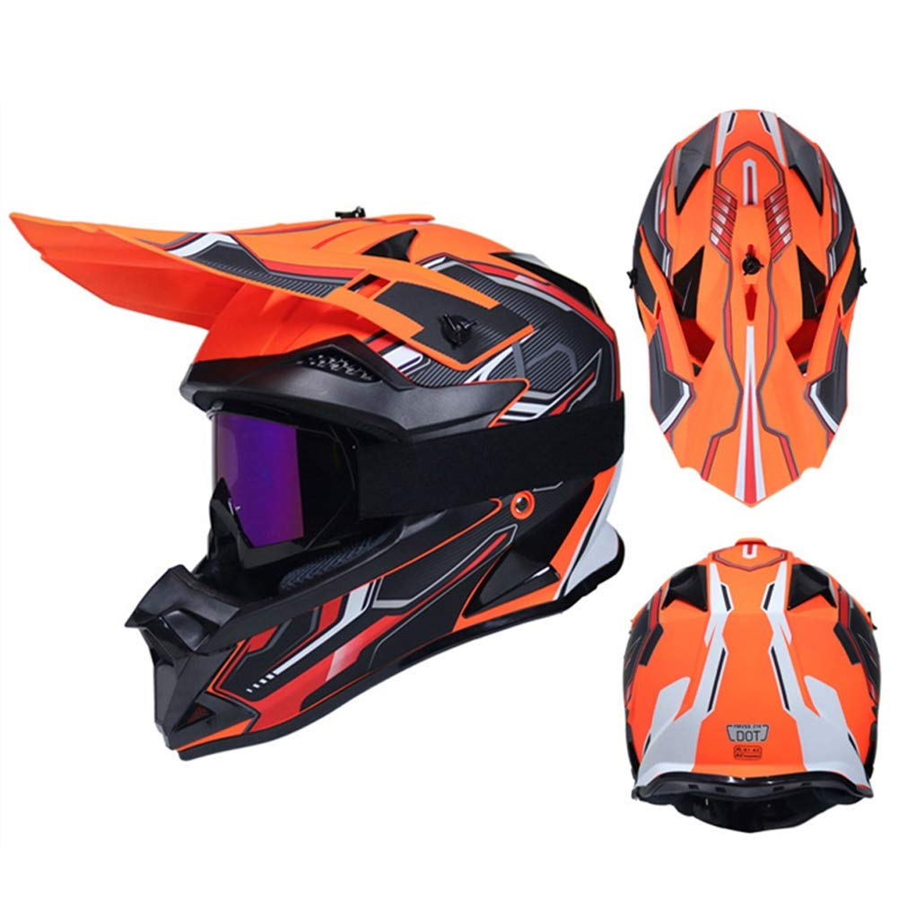 Pro Casco de Motocross Negro y Naranja Casco Enduro MTB Integral Adulto Hombre Mujer Protecciones Moto Cross para MX Quad Motocicleta Descenso Enduro Forro Extra/íble//Certificaci/ón Dot
