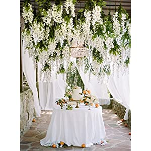 Miyaya 24 Pieces Realistic Artificial Silk Wisteria Vine Ratta Silk Hanging Flower Plant for Home Party, Wedding Decor and Other Various Events - Each White 5