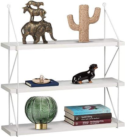 BAKAJI Libreria Scaffale Mensole Parete Design Moderna 3 Ripiani in Legno MDF Struttura in Metallo Casa Ufficio Bianco