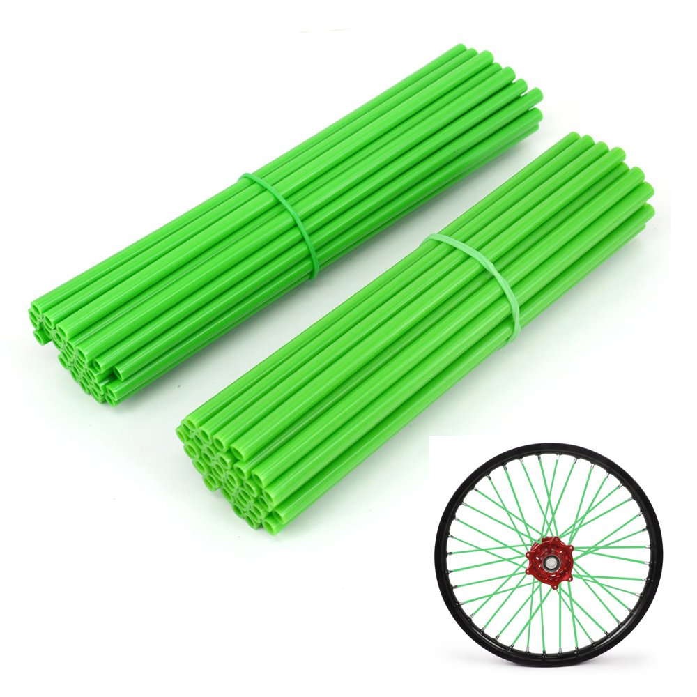 JFG RACING 72 Pcs Green Motorcycle Spoke Covers Guards For 19''-21'' Rims Kawasaki Dirt Bike