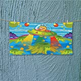 also easy Swim Towel for Scary Monster in UFO on Planet Solar System Funky Back Green Blue Super Soft L27.5 x W13.8 inch