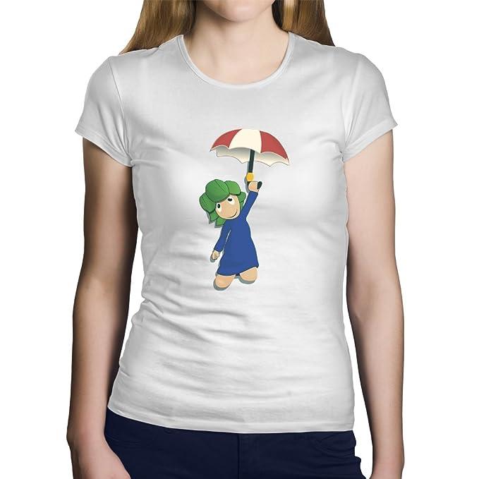Una Camiseta de Mujer con Lemming con su Paraguas. Camiseta Friki