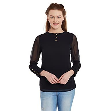 PANIT Black Full Sleeves Top