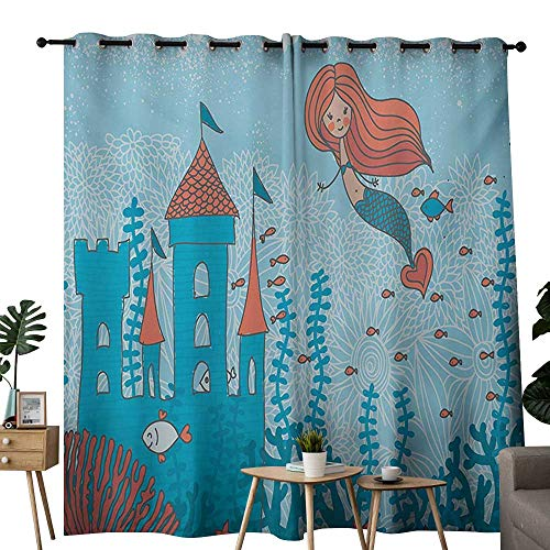 NUOMANAN Curtains for Living Room Mermaid,Art of Little Mermaid Under The Sea in Corals with Castle and Little Fish Print,Teal Orange,Complete Darkness, Noise Reducing Curtain 54