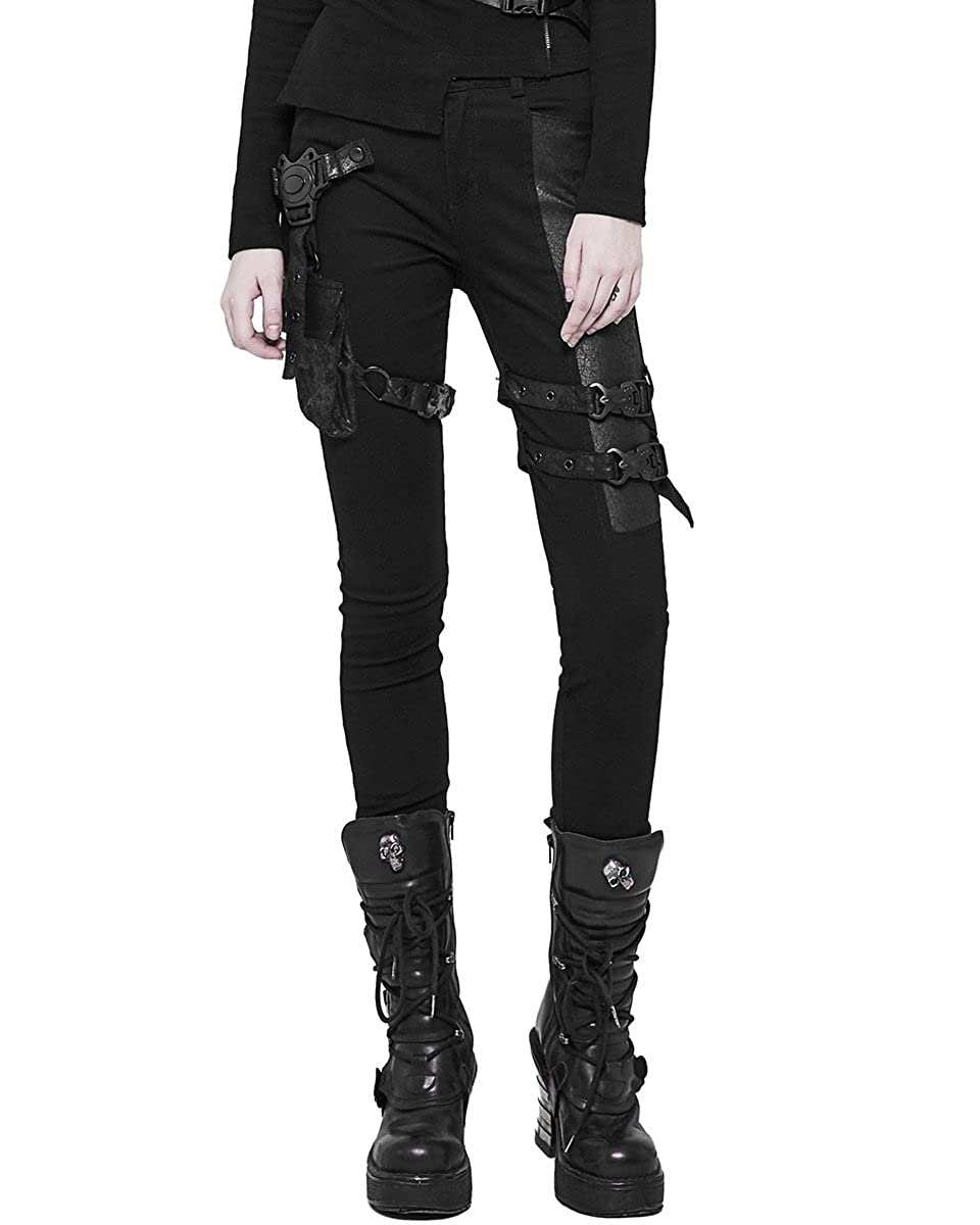 c1b39ed0eb10b Punk Rave Womens Dieselpunk Jeans Pants Black Goth Cyberpunk Cyber Faux  Leather: Amazon.co.uk: Clothing