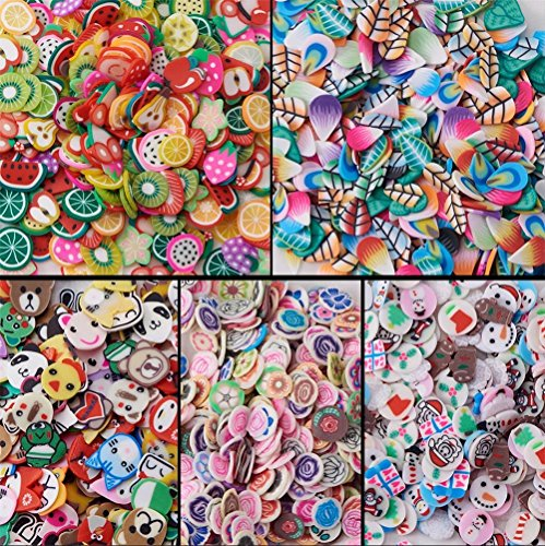 5000 Pcs 3D Polymer Fimo Slices DIY Nail Art Slime Supplies Charms Slime Making Kit Decoration Arts Crafts(Fruit,Rose,Father Christmas,Animal,Feather)-1000Pcs/Pack